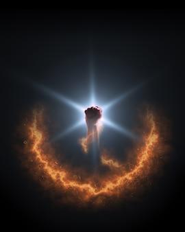 Energia starfire. forte poder de fogo na mão. fundo. isolado