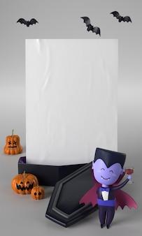 Enfeite de halloween com caixão e drácula
