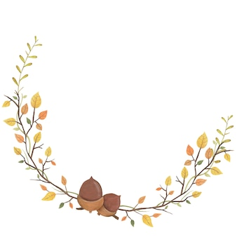 Enfeite de outono com folhas e bolota