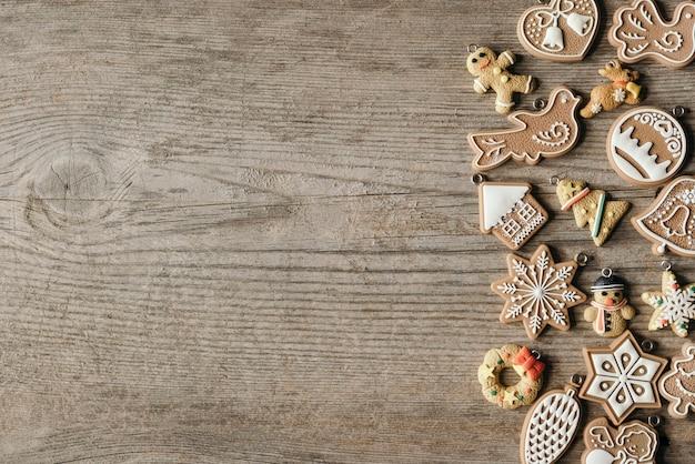Enfeites de biscoitos de natal com espaço de cópia