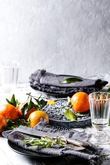 Enfeites de mesa de natal com clementinas