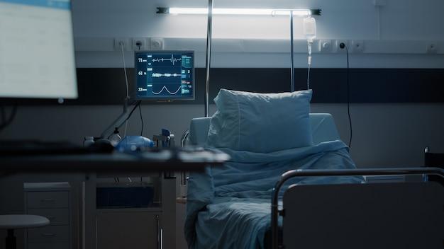 Enfermaria de hospital vazia projetada com equipamentos médicos