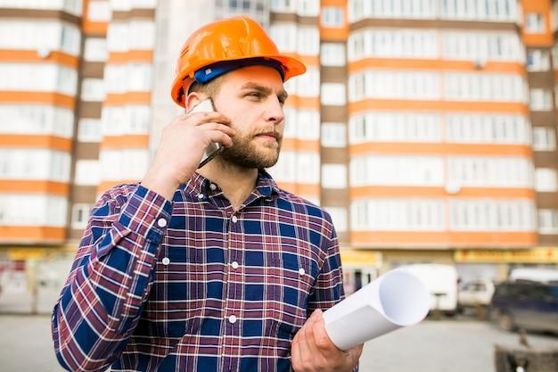 Engenharia m construção eletricista trabalhador