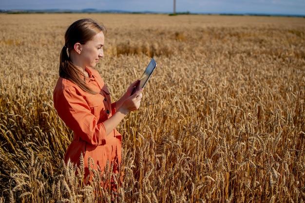 Engenheira agrônoma com computador tablet no campo de trigo, verificando a qualidade e o crescimento das safras para a agricultura