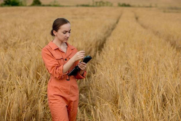 Engenheiro agrônomo de mulher caucasiana com computador tablet no campo de trigo, verificando a qualidade e o crescimento das safras para a agricultura. conceito de teste de trigo
