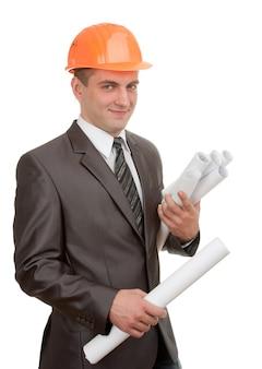 Engenheiro de capacete com planos