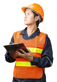 Engenheiro homem com capacete
