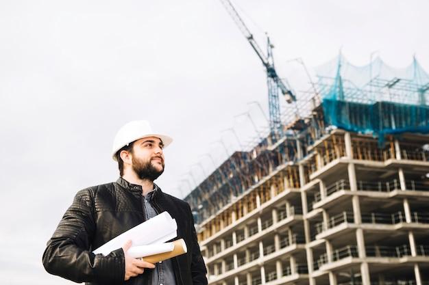 Engenheiro, ligado, local construção