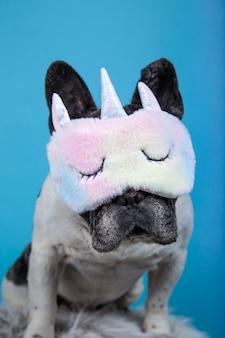 Engraçado bulldog francês com máscara de dormir de unicórnio