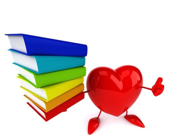 Engraçado coração ilustrado segurando uma pilha de livros