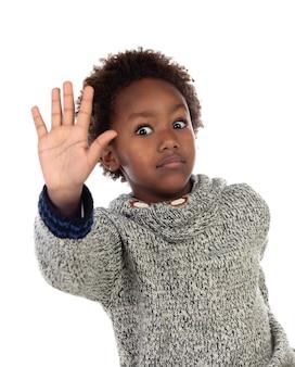 Engraçado criança africana dizendo stop