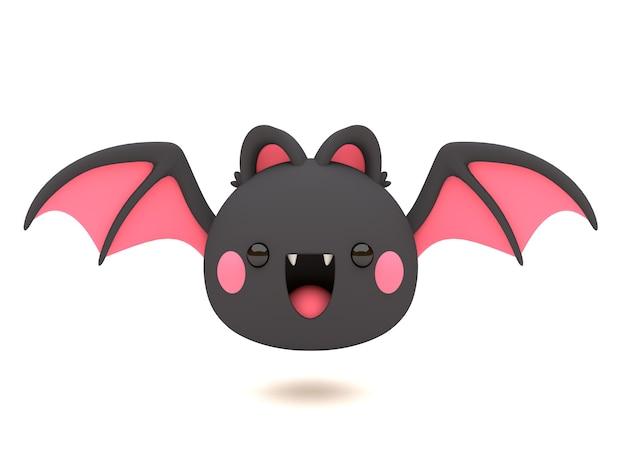 Engraçado e bonito personagem de morcego preto halloween 3d no estilo kawaii
