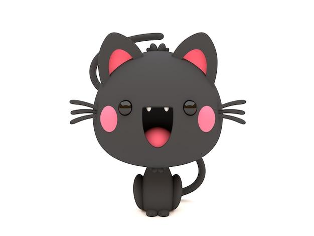 Engraçado e fofo personagem 3d halloween black cat no estilo kawaii