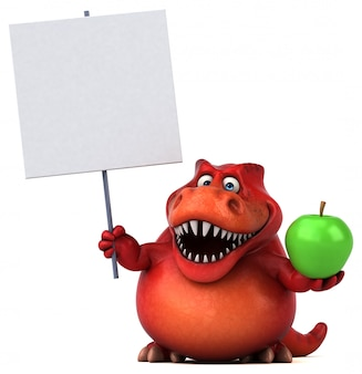Engraçado personagem 3d de dinossauro vermelho segurando um cartaz e uma maçã