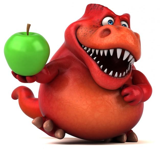 Engraçado personagem 3d de dinossauro vermelho segurando uma maçã