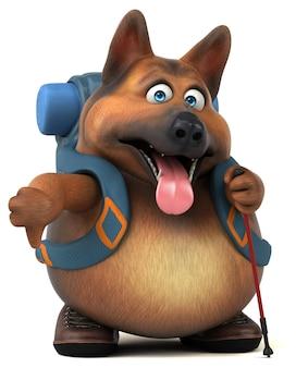 Engraçado personagem de desenho animado de cão pastor alemão mochileiro