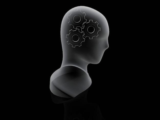 Engrenagem humana. conceito de cérebro em fundo preto