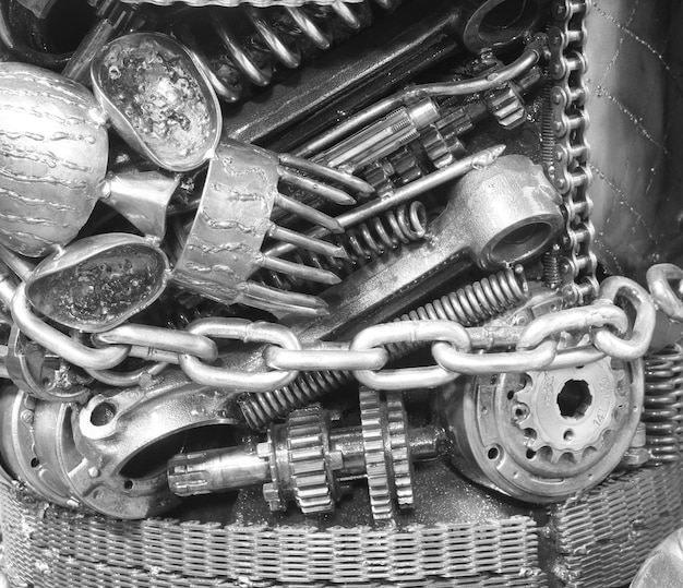 Engrenagem velha e corrente, fundo de parte de maquinaria