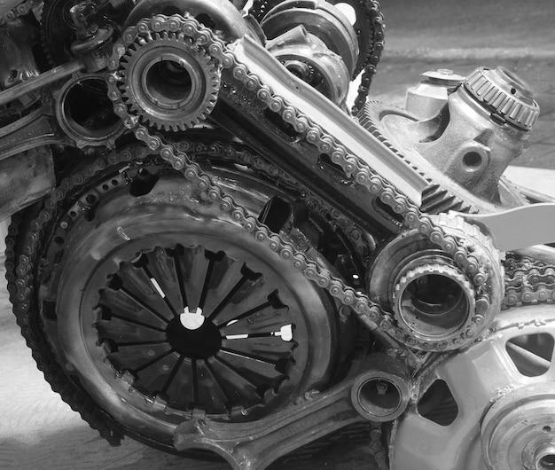 Engrenagem velha e corrente, parte de maquinaria