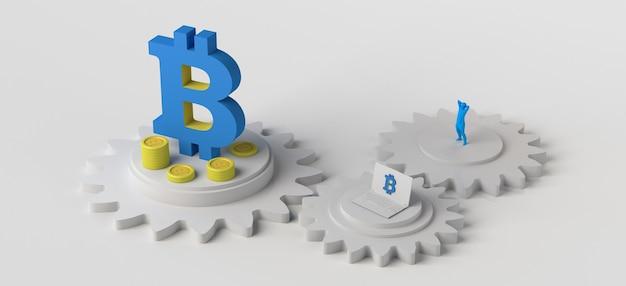 Engrenagens com moedas símbolo bitcoin computador e pessoa ilustração 3d de criptomoedas