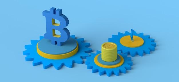 Engrenagens com moedas símbolo e pessoa bitcoin criptomoeda ilustração 3d copiar espaço