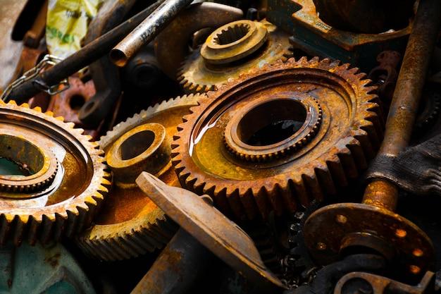 Engrenagens de ferrugem da velha máquina