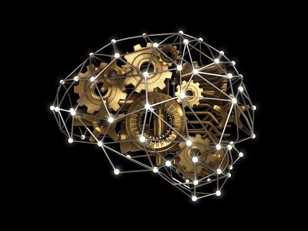 Engrenagens e parte da máquina em forma de cérebro, conceito de trabalho de inteligência, cérebro abstrato. renderização 3d