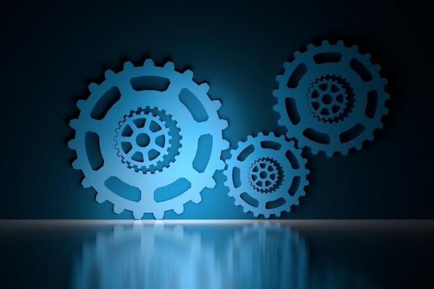 Engrenagens mecânicas sobre superfície reflexiva brilhante em azul e preto