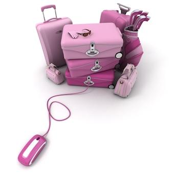 Enorme bagagem rosa, incluindo malas, pastas, bolsa de golfe, conectada a um mouse de computador.
