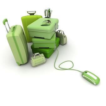 Enorme bagagem verde, incluindo malas, pastas, bolsa de golfe, conectada a um mouse de computador. Foto Premium