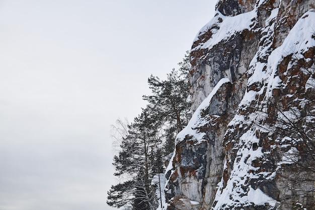 Enorme penhasco nevado e íngreme com pinheiros crescendo contra o céu de inverno