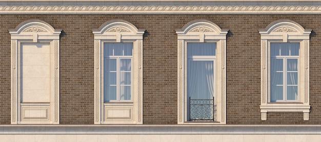 Enquadramento das janelas no estilo clássico na parede de tijolo da cor marrom. renderização 3d.