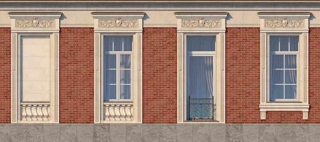 Enquadramento das janelas no estilo clássico na parede de tijolo da cor vermelha. renderização 3d.