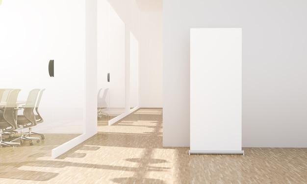 Enrole mock up no corredor do escritório com salas de conferências