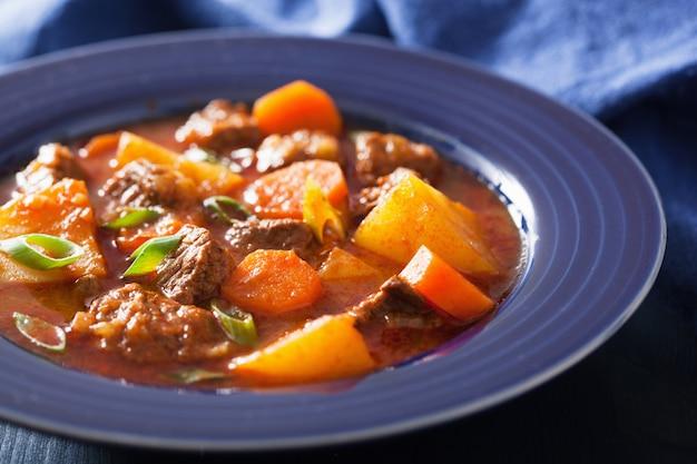 Ensopado de carne com batata e cenoura em chapa azul