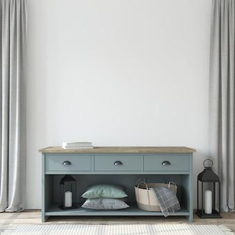 Entrada com a cômoda azul. maquete de interior. renderização 3d.