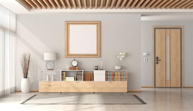 Entrada da casa minimalista com porta da frente e aparador com objetos de decoração e teto de madeira - renderização em 3d