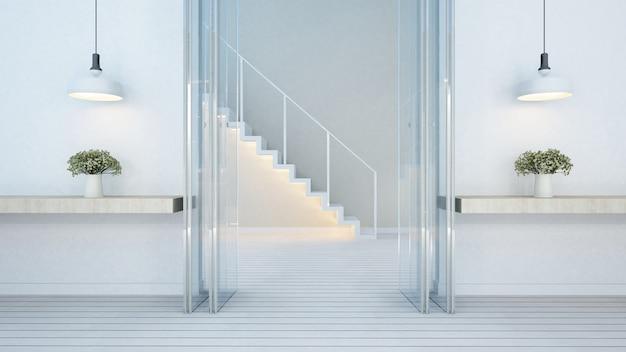 Entrada da porta e escada em casa ou apartamento - renderização em 3d