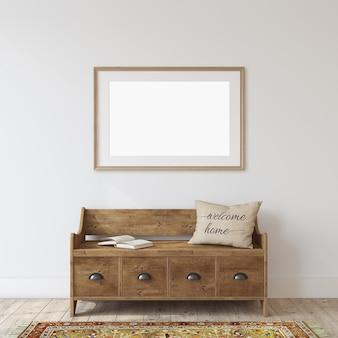 Entrada da quinta. banco de madeira perto da parede branca. maquete do quadro. moldura de madeira na parede. renderização 3d.