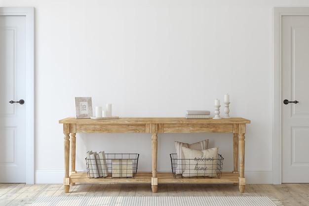 Entrada da quinta. mesa de console de madeira perto da parede branca. maquete de interior. renderização 3d.