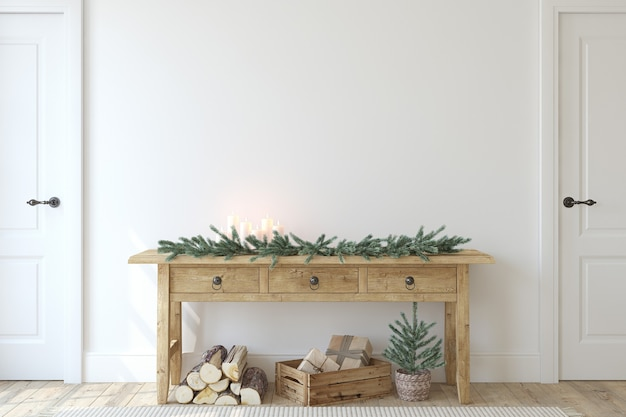 Entrada de casa de fazenda de natal. mesa de console de madeira perto da parede branca. maquete de interior. renderização 3d.