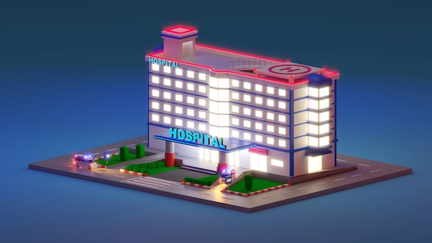 Entrada do hospital de emergência em estilo 3d isométrico. o prédio da clínica com saguão para os pacientes. a cena noturna. ilustração 3d render