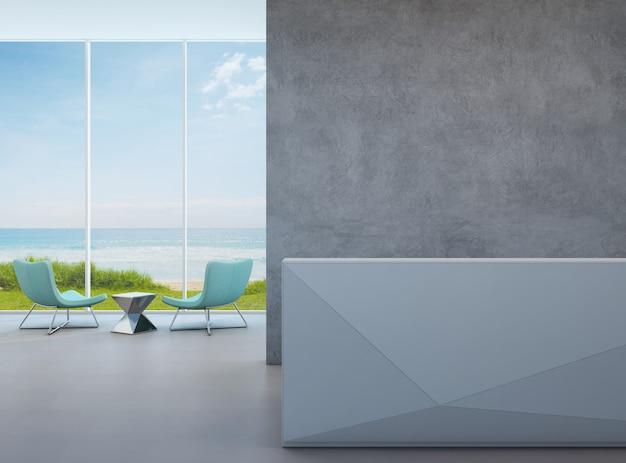 Entrada moderna da opinião do mar com muro de cimento no hotel de praia luxuoso.