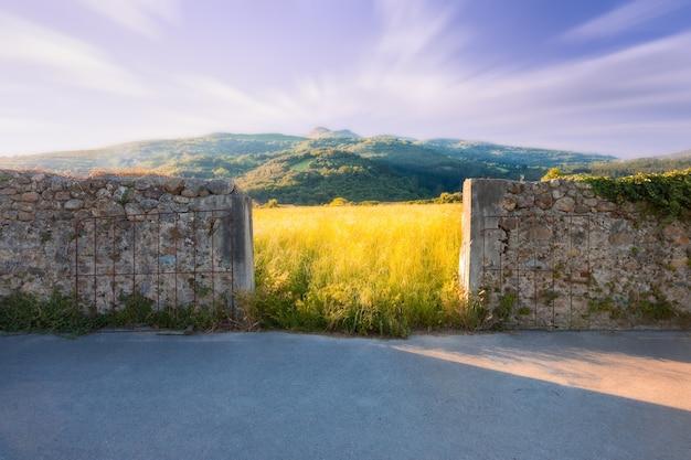 Entrada para um campo gramado ao pôr do sol