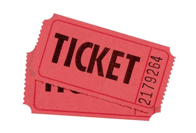 Entrada vermelha ou bilhetes de rifa isolados contra branco