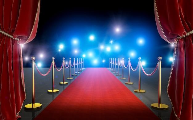Entrada vip com tapete vermelho e cortinas