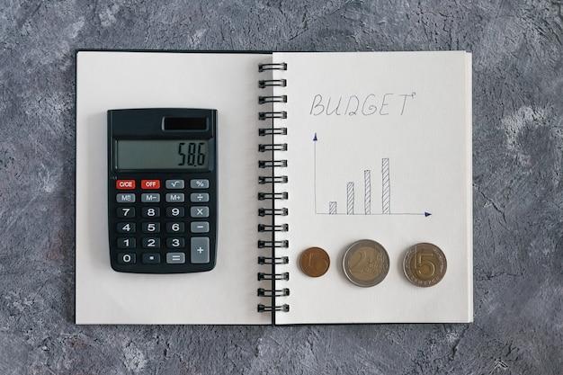 Entradas no caderno de cálculo de receitas e despesas do orçamento familiar para acumulação de dinheiro em um apartamento, carro e educação