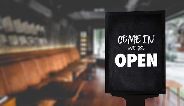 Entre, estamos abertos, entre café ou restaurante