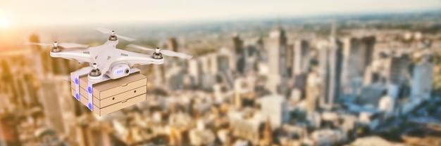 Entrega de pizza na renderização 3d do drone