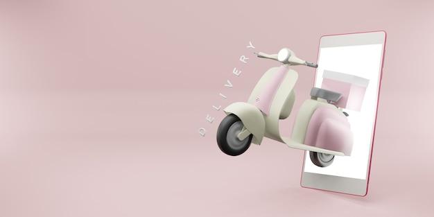 Entrega de produto via aplicativo de telefone com ilustração 3d de uma motocicleta com rodas